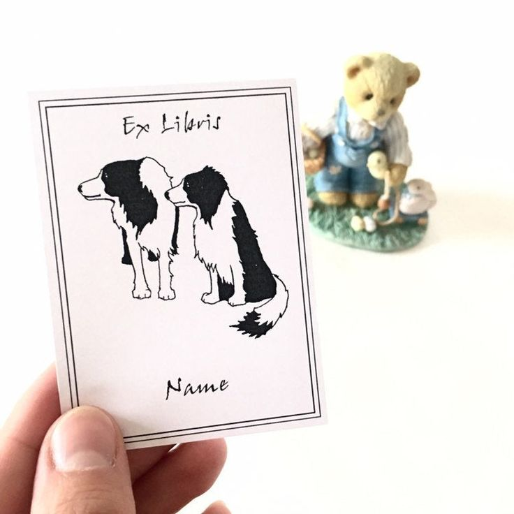 Dog owner gift 25 personalized ex libris bordercollie dogs