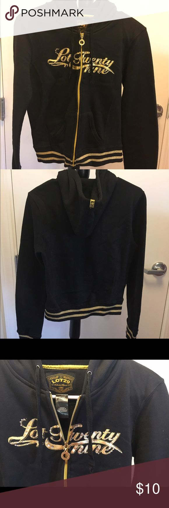 Lot 29 Black & Gold Zip Up Hoodie Lot 29 black & gold zip up hoodie. Great quality thick cotton material. Rhinestones on front logo. Juniors size large Tops Sweatshirts & Hoodies