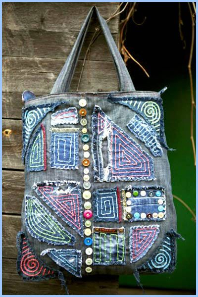 denim bag with his hands