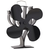 New designed 4 Blades Heat Powered Stove Fan for Wood / Log Burner/Fireplace - Eco Friendly(Black)