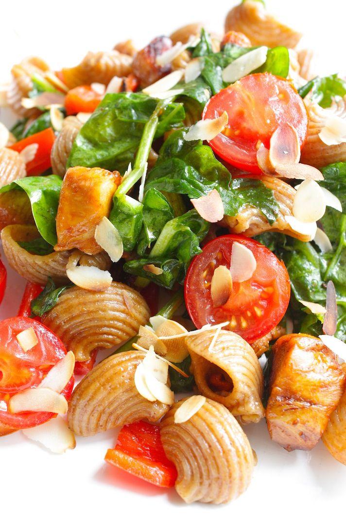 Zomerse pasta met honingkip en spinazie_2