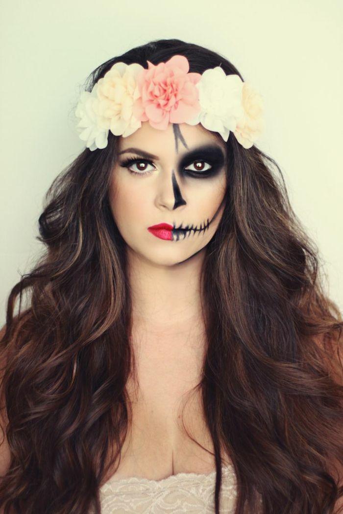 halbes gesicht für halloween schminken