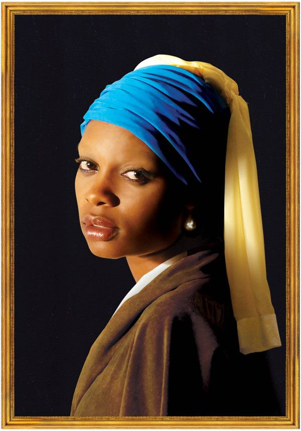 """""""Vermeer in Congo"""" by Rodin Mulumba. The purpose of this photo was to reinterpret the famous Vermeer painting """"The girl with the pearl""""   into an African context."""