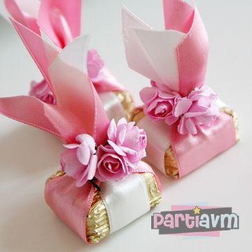Kurdele Çiçek Süslemeli Kare Çikolata 20 Adet partiavm.com doğum günü süsleri ve parti malzemeleri Merkezi