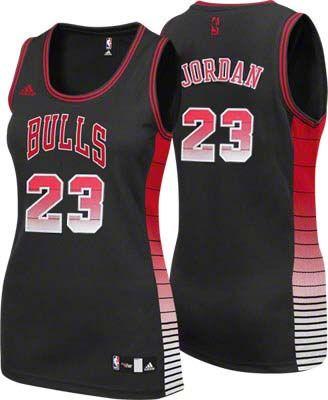 Chicago Bulls #23 Michael Jordan Black Rhythm Fashion Womens Jersey