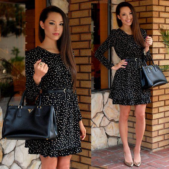 Style In Kind Polka Dot Dress, Prada Saffiano Lux