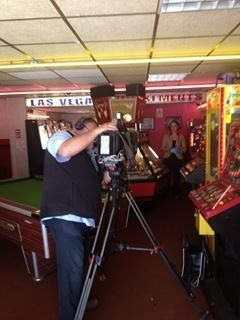 BBC north west news filming in the arcade