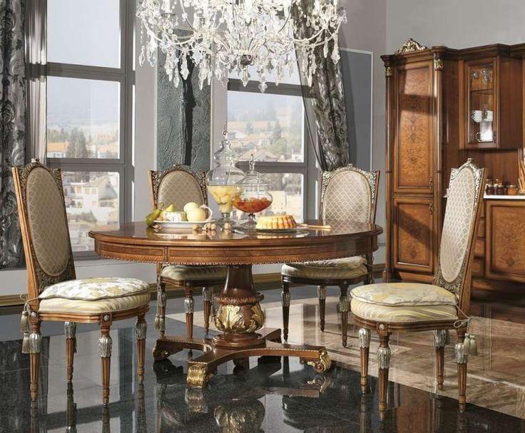 Sala da pranzo stile veneziano - Sedie e tavolo rotondo