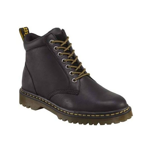 Men's Dr. Martens Denver 7 Eye Boot - Black Burnished Wyoming Casual ($100) ❤ liked on Polyvore featuring men's fashion, men's shoes, men's boots, black, casual, leather boots, dr martens mens shoes, mens shoes, mens boots and mens leather shoes