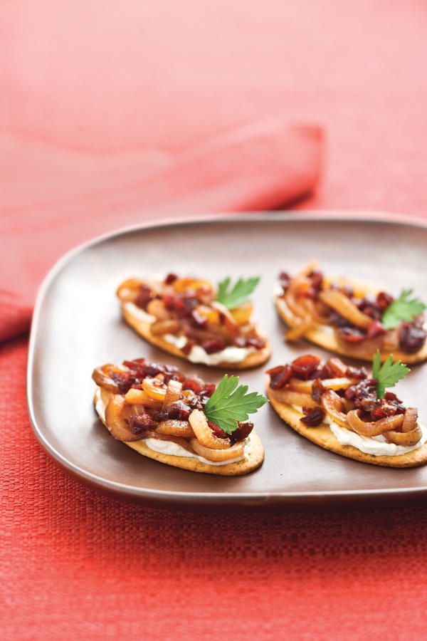 Caramelized Onion-Cranberry Cream Cheese Bites - 25 Show-Stopping Appetizers - Southernliving. Recipe: Caramelized Onion-Cranberry Cream Cheese Bites  You can make the a day ahead and store it in an airtight container in the fridge. Let stand at room temperature 30 minutes before serving.