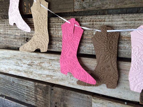 Cool: Cowgirl Wimpelkette für jede Art von Party oder Kinderzimmer gestalten *** Cowgirl Party Girlande - Cowgirl Party, Baby-shower, wedding
