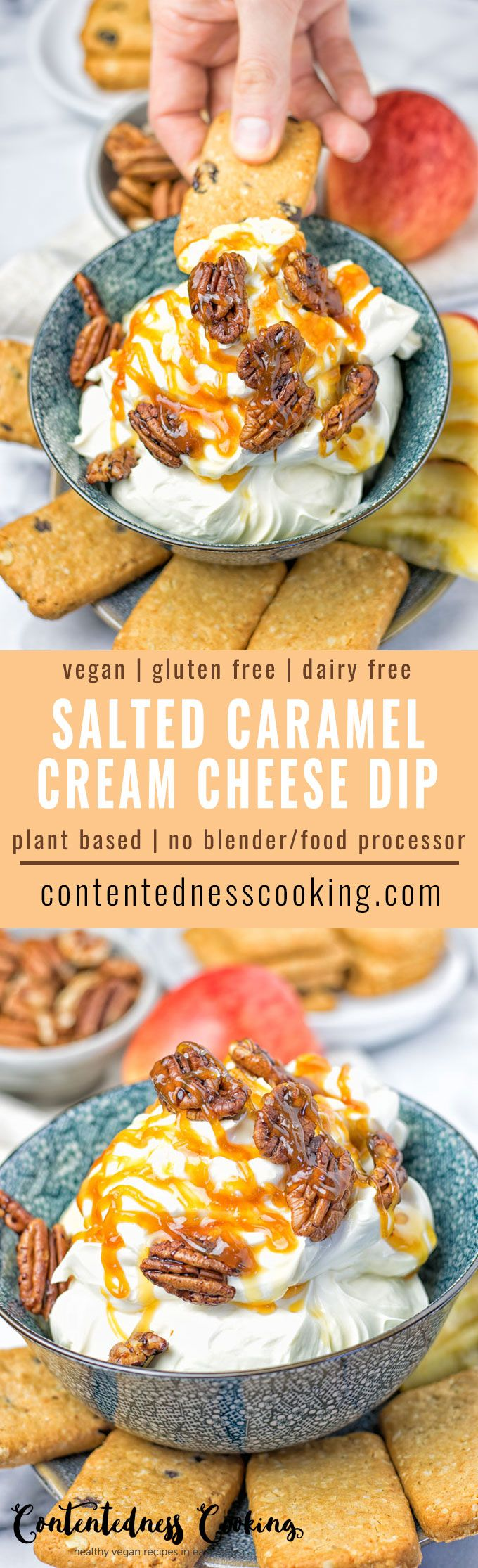 This Salted Caramel Cream Cheese Dip is entirely vegan, gluten free, made without any blender or food processor. It's a must make for potlucks, gatherings or any other holiday occasion. Enjoy them with your favorite cookies, apple slices or with chocolate