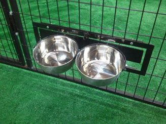 Kennel Mounted Swivel Bowl System for Easy Feeding of Your Dog from K9 Kennels (k9kennelstore)