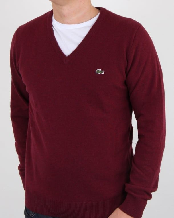 4b96f1c42665 Lacoste Wool V Neck Jumper Burgundy