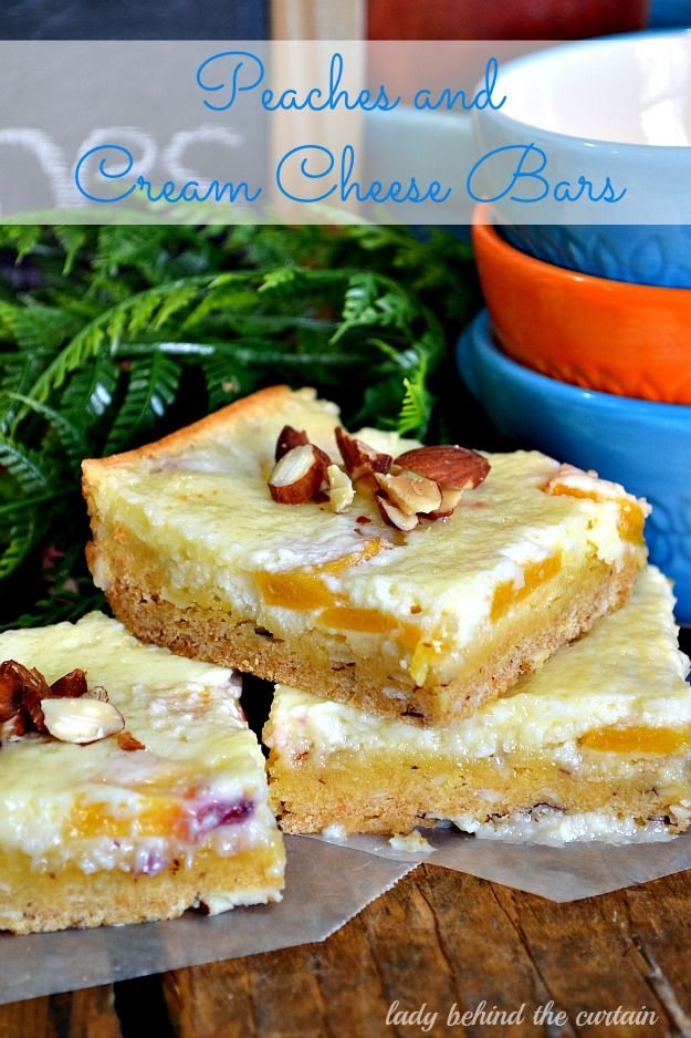 Peaches and Cream Cheese Bars ~Behind The Curtain Dessert Challenge - Lady Behind the Curtain