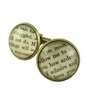 Literary Lovers Book Cufflinks  To buy: $25 #gifts -- Maybe make necklaces?Valentine'S Day, Cufflinks Book, Lovers Book, Literary Lovers, Gift Ideas, Darcy Cufflinks, Romantic Gift, Valentine Day Gifts, Book Cufflinks