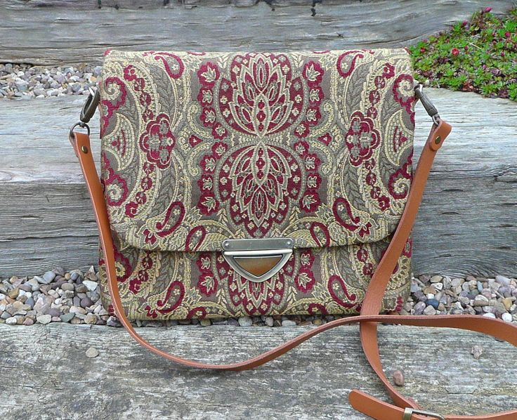 Across Body Bag, Gold and Plumb Chenille Brocade bag, Messenger bag with real leather strap by Bagsofelegance on Etsy