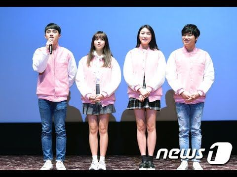 EXO's D.O  and Kim So Hyun Promoting Movie 'Pure Love' at the Lotte Cine...
