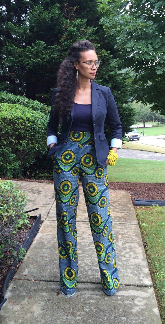 African Print Pants by MelangeMode on Etsy  ~African fashion, Ankara, kitenge, African women dresses, African prints, Braids, Nigerian wedding, Ghanaian fashion, African wedding ~DKK