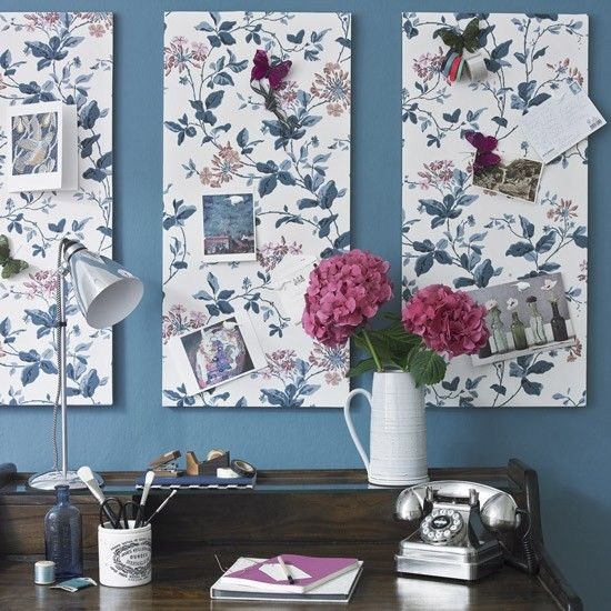Teal Blue And Floral Home Office