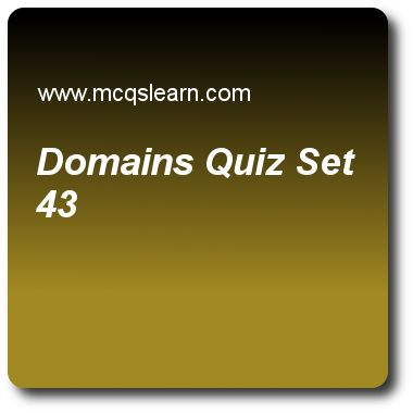 Domains Quizzes: computer networks Quiz 43 Questions and Answers - Practice networking quizzes based questions and answers to study domains quiz with answers. Practice MCQs to test learning on domains, cellular telephony, data transfer cable tv, cable tv network, baseband transmission quizzes. Online domains worksheets has study guide as well-known port used for encapsulation by server is, answer key with answers as port 7, port 23, port 53 and port 67 to test exam preparation. For quick..