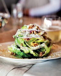 Little Gem Salad with Lemon Vinaigrette. Walnuts, walnut oil, salt, shallot, lemon juice, champagne vinegar, olive oil, pepper, yellow squash, red onion, little gem or romaine lettuce, pecorino romano cheese