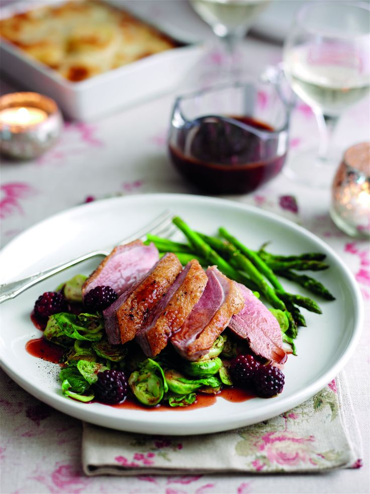 Roasted duck breasts with blackberry and port sauce- Very Good!