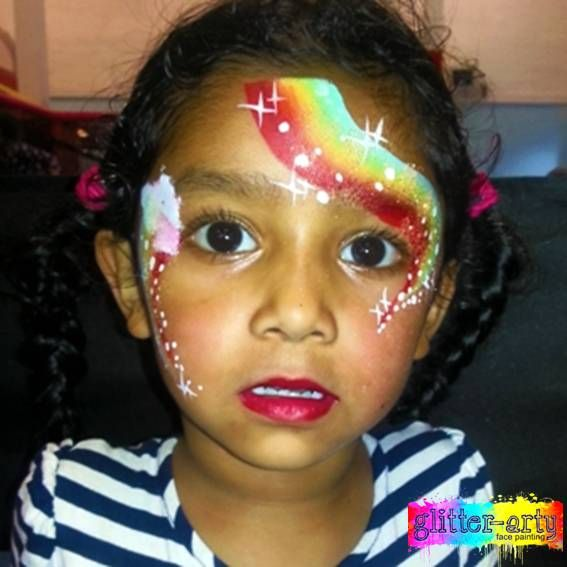 Pretty, Glittery & Sparkly, girls rainbow face painting