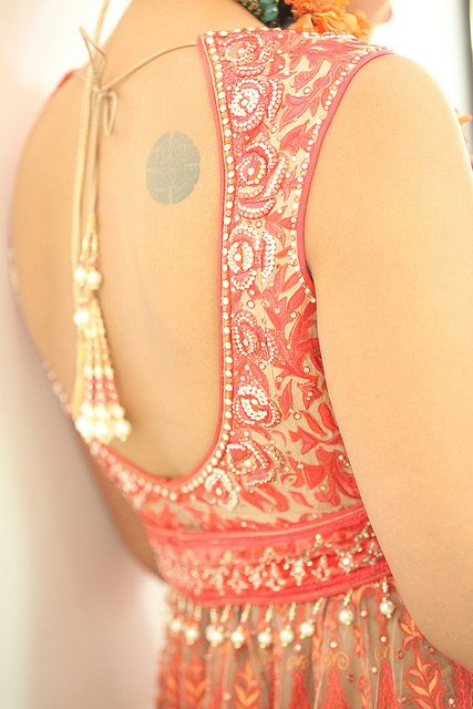 Backless details on gorgeous anarkali dress