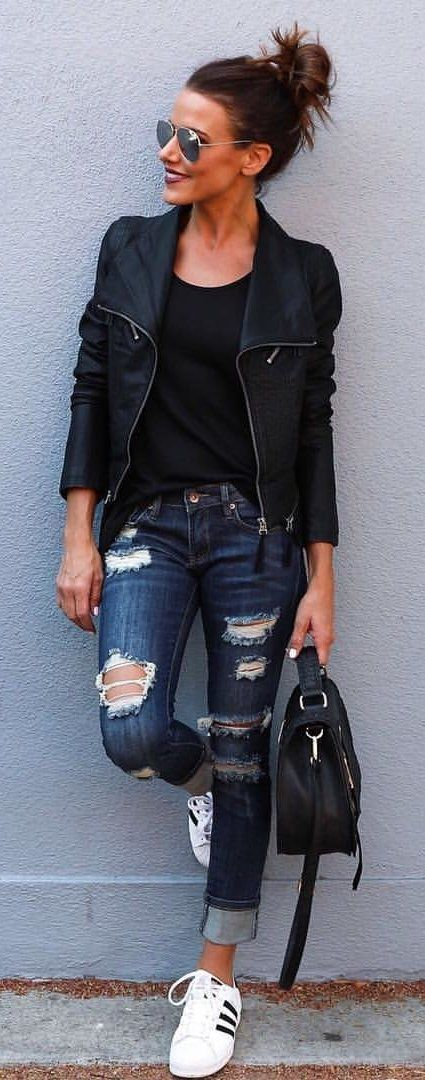 #fall #outfits Black Leather Jacket   Ripped Skinny Jeans - Tap the pin if you love super heroes too! Cause guess what? you will LOVE these super hero fitness shirts!