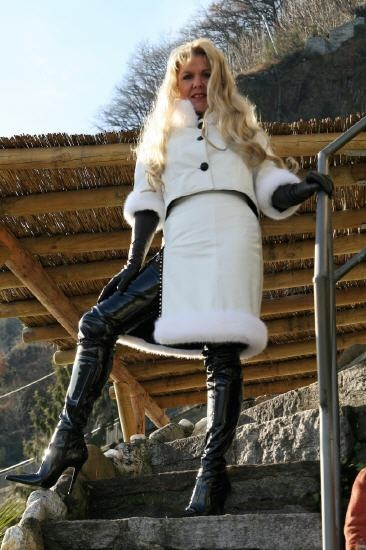 Superlanger Stretchlackstiefel - Stretch Patent Crotch Thigh Boots
