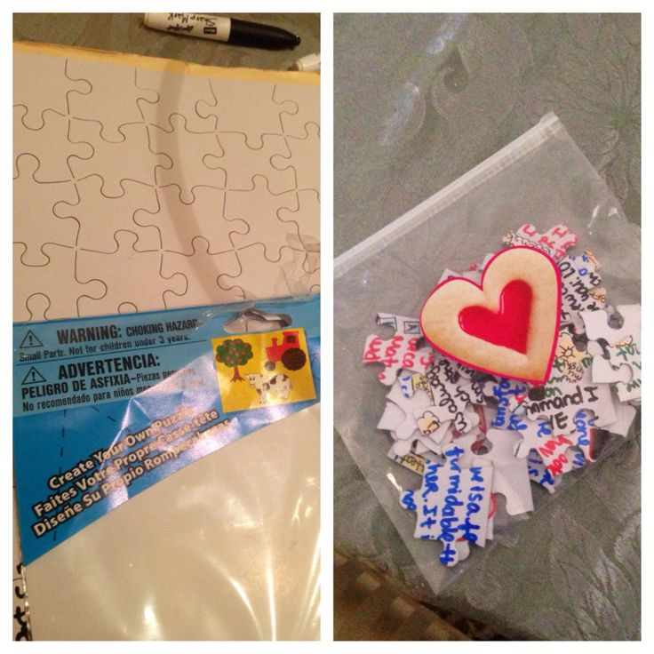 """""""Love puzzle""""wrote love quotes in random directions, colors, doodled pictures to make it harder, pieces in a ziplock bag with sticker. my husband mentioned  I had not done anything crafty for him in a while, I used to get creative when money was tight. I was thinking my expensive gifts were getting the job done. This year for his birthday, he was happy I  took it old-school"""