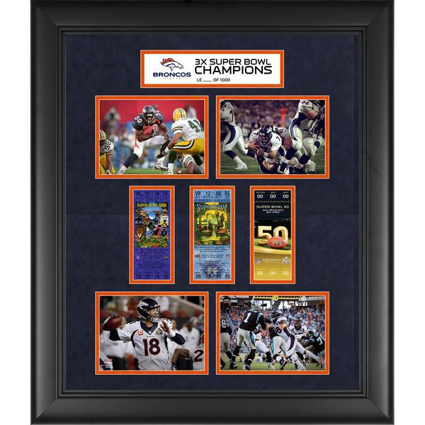 """Denver Broncos Fanatics Authentic Framed 20"""" x 24"""" Super Bowl 50 Champions 3-Time Super Bowl Champs Replica Ticket and Photo Collage - $139.99"""