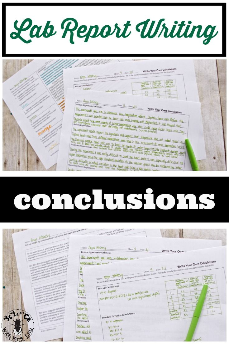 conclusions for lab reports