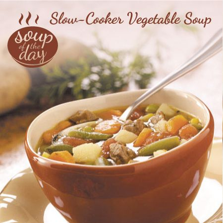Slow-Cooker Vegetable Soup Recipe from Taste of Home -- shard by Heather Thurmeier, Pense, Saskatchewan