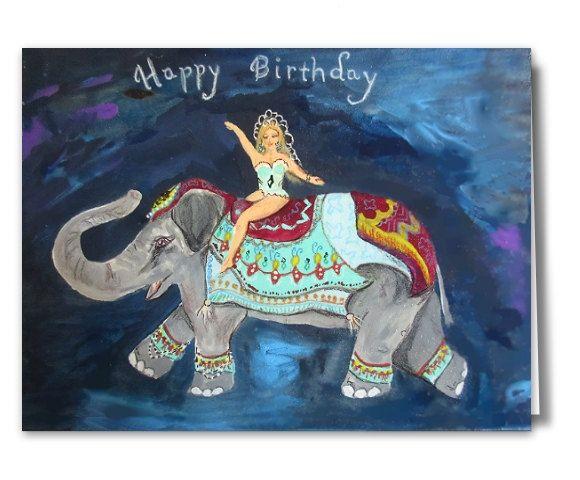 Circus Elephant Rider Happy Birthday Printable Card,Birthday Ecard,Instant Download Elephant Card, DIY Birthday Card,Homemade Birthday Card by CowberryMoonCards on Etsy