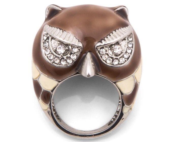 Kardashian Kollection Owl Ring - Silver/Brown
