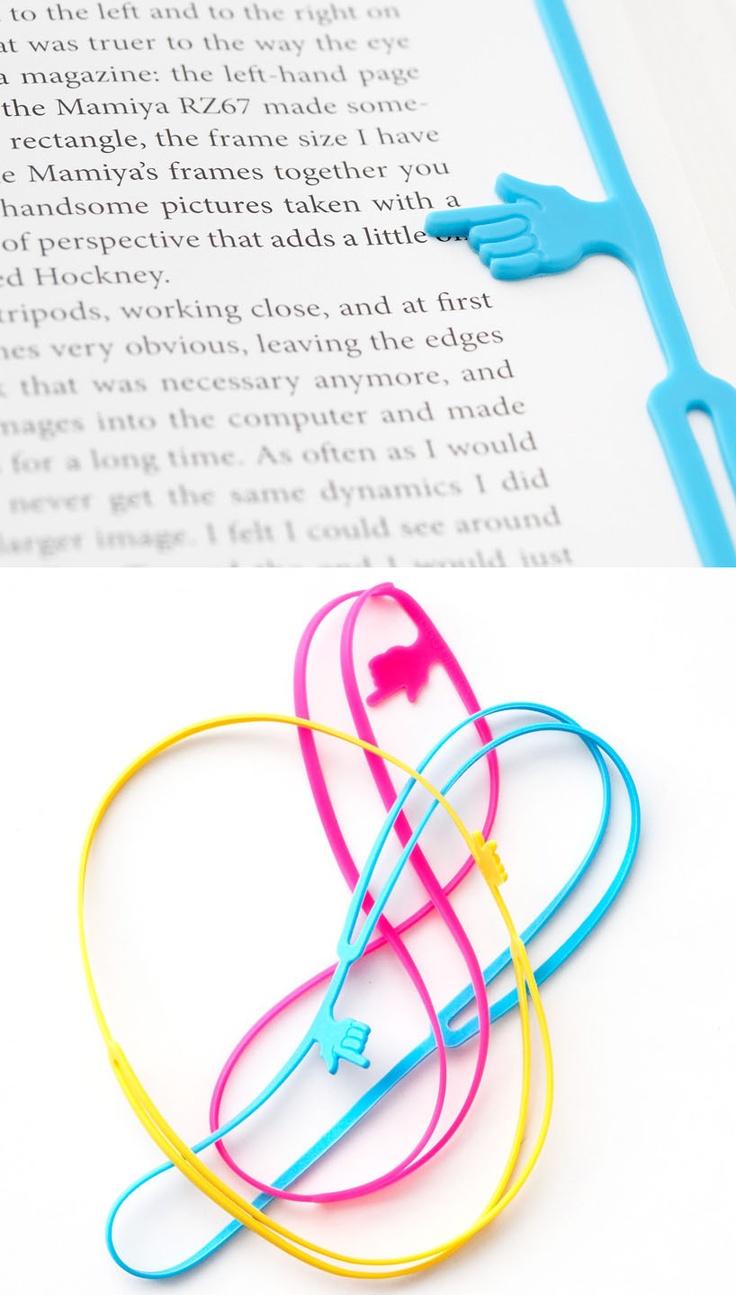 pointing finger bookmark ( http://www.designboom.com/design/designboom-shop-pointing-finger-bookmark-by-25togo/ )
