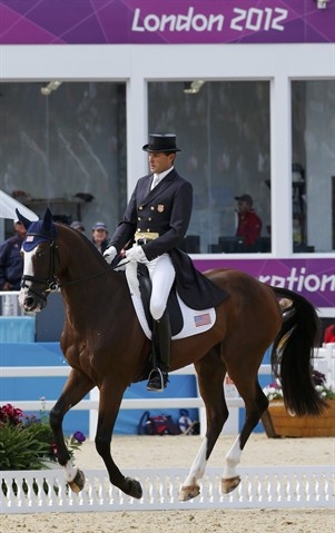 Boyd Martin of the U.S. was first eventing rider in the dressage portion Saturday at Greenwich Park aboard Otis Barbotiere.: Photo