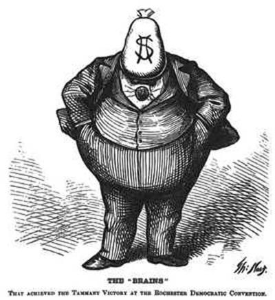 One of the images Otterness brought to life was Thomas Nast's satirical depiction of Boss Tweed.