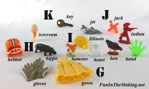 Letter Jar Objects G,H,I,J,K
