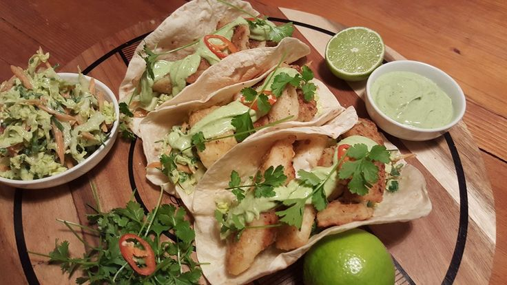 Fish Tacos with coleslaw and Avocado & Dill Yoghurt