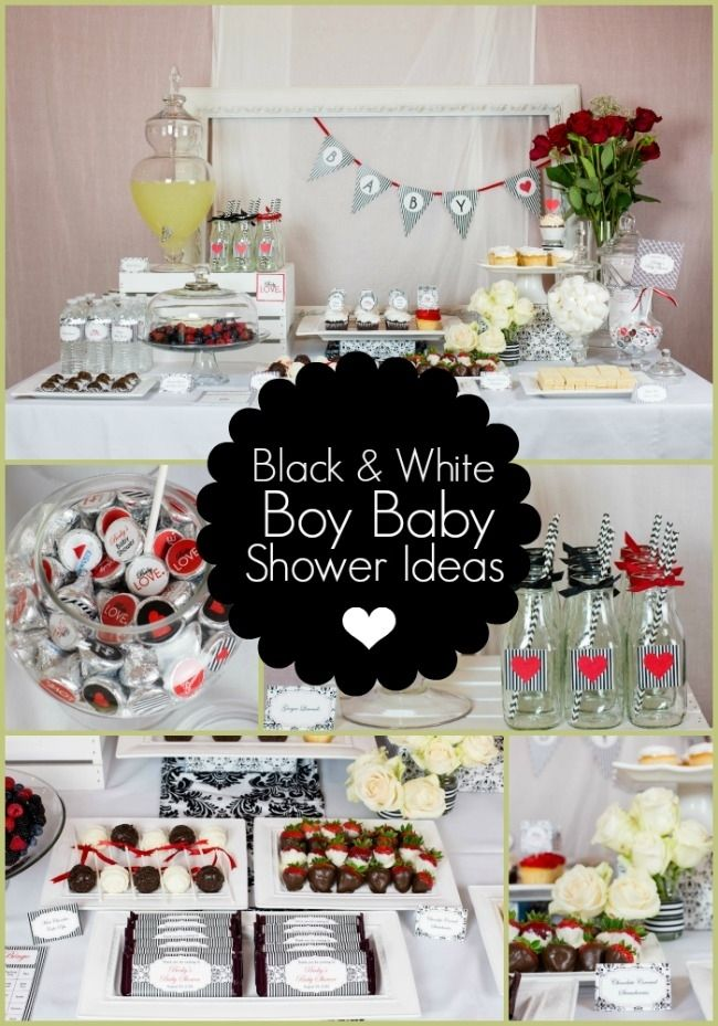 """Gender-neutral Baby Shower Ideas for a Black and White Shower. Theme is called """"Baby Love"""""""