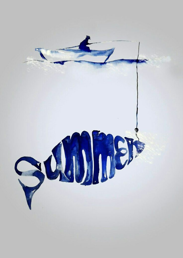 Poster about summer by кwatercolor  #Water, #fish, #fisher