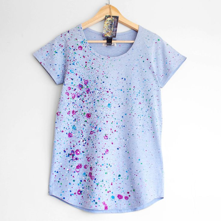 ROSES and VIOLETS. T shirt for woman or girl. Hand painted tee. Unique ladies t shirts. Blue and Floral. by Smukie on Etsy