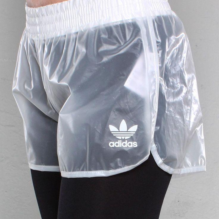 Adidas plastic shorts.