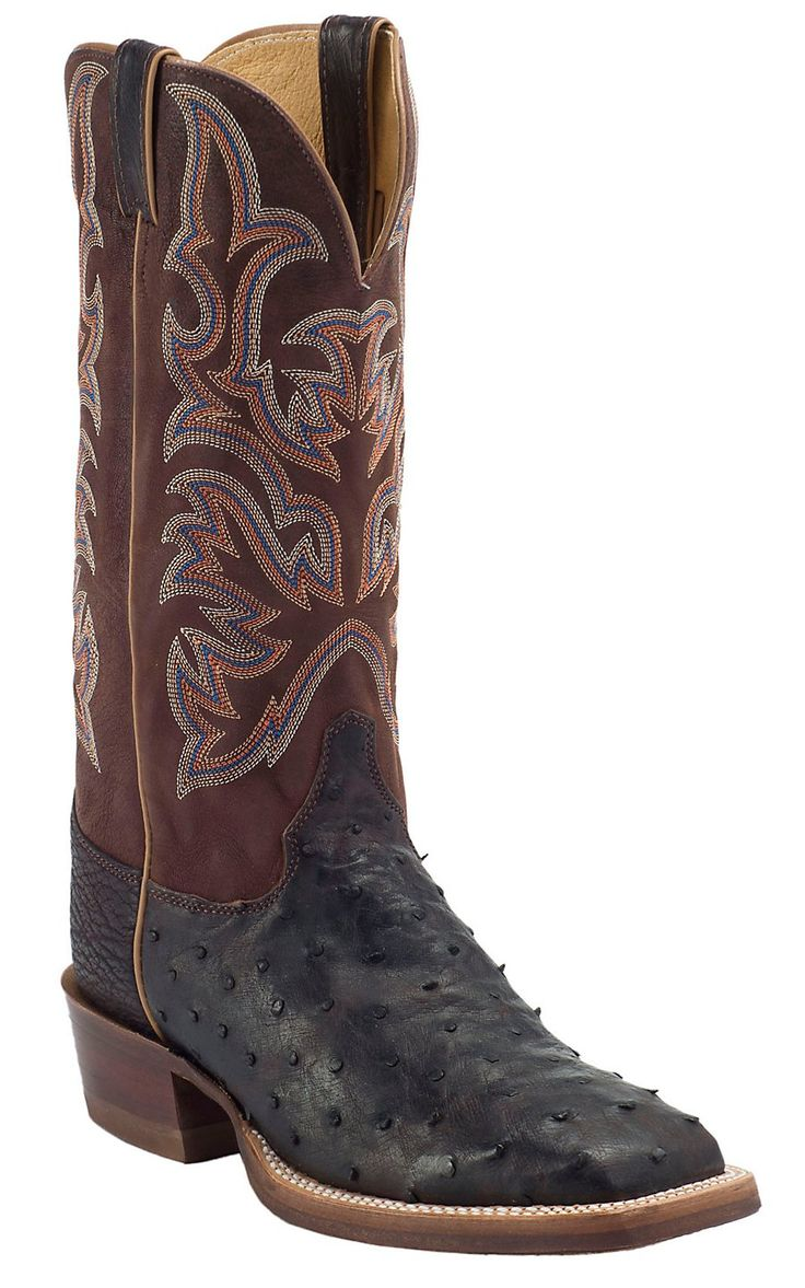 Justin® AQHA Remuda™ Men's Nicotine Full Quill Ostrich with Tiger Jurassic Goat Top Exotic Square Toe Boot