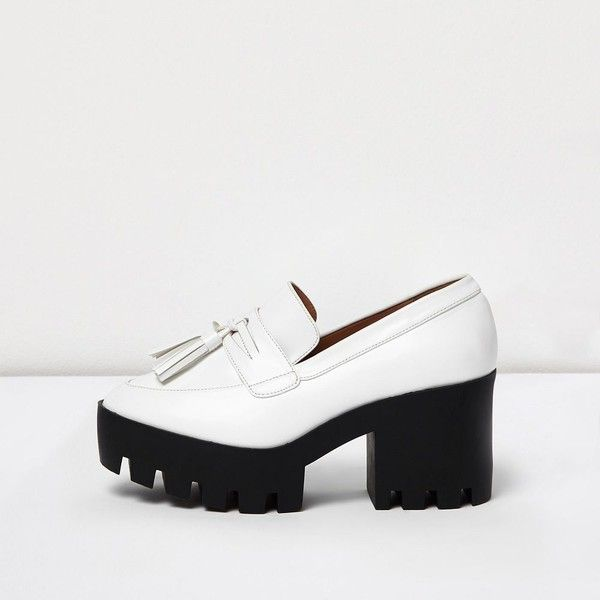 River Island White chunky heeled loafers ($58) ❤ liked on Polyvore featuring shoes, loafers, loafer shoes, chunky heel shoes, white loafers, high heel platform shoes and high heeled footwear