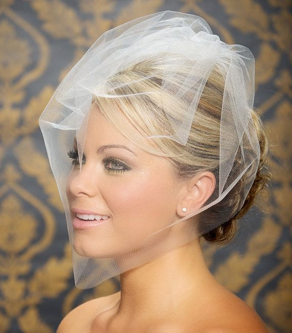 """Tulle Bridal Illusion Birdcage Veil Blusher Veil Bird Cage Wedding Veil in White Black Ivory Champagne  - 18"""" - Made to Order on Etsy, $33.95"""