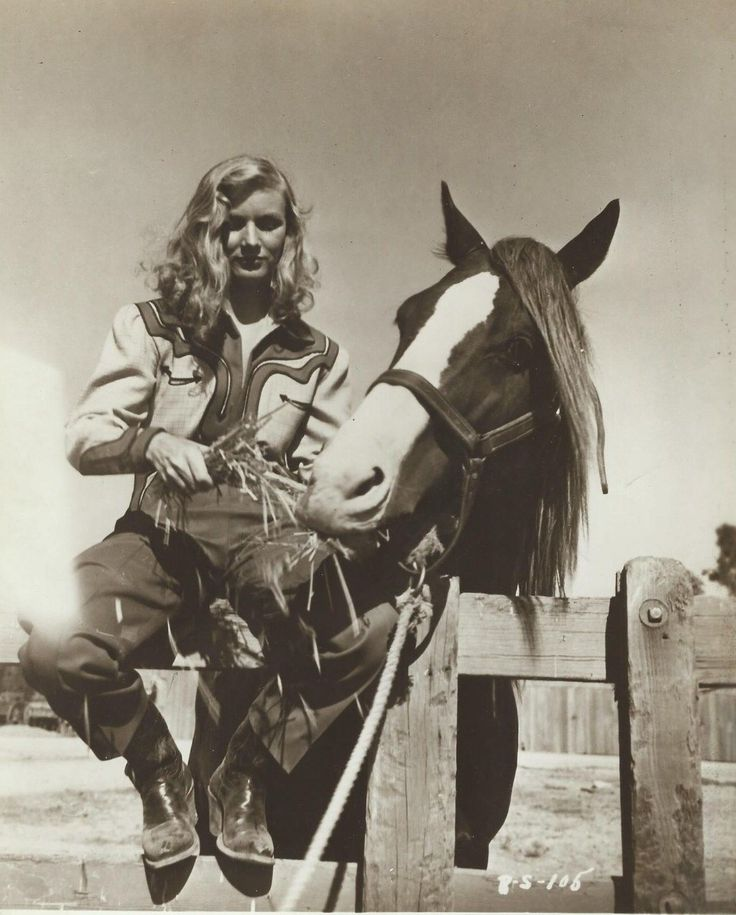 Veronica Lake, 1940s western wear cowgirl shirt jeans boots horse movie star photo print
